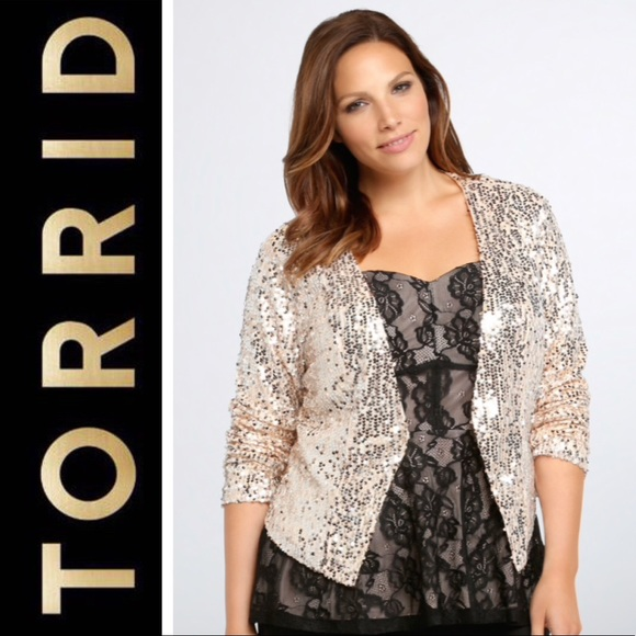 e2c6115fde21a NEW Torrid Sz 2 Rose Gold Sequin Jacket - 2X 18 20